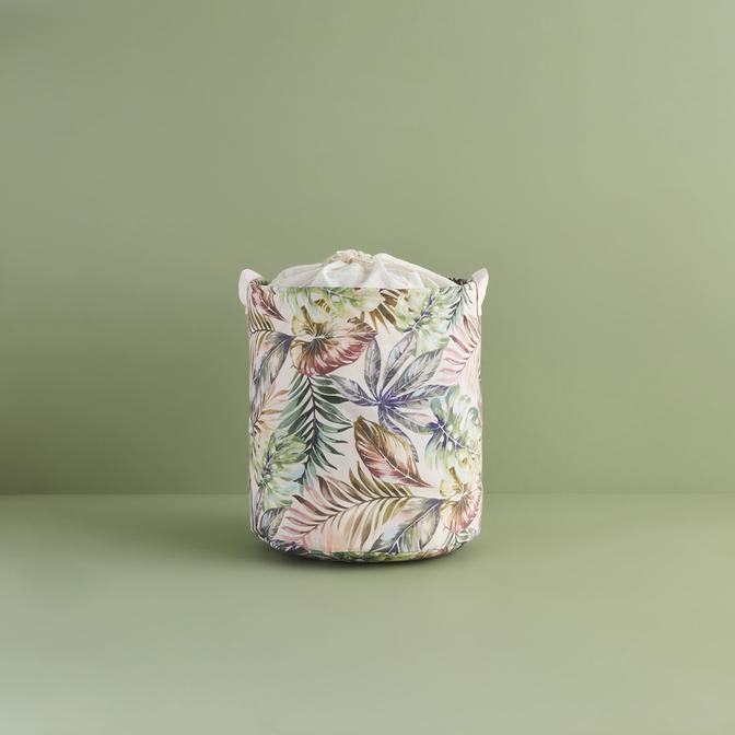 Ocean Home Yaprak Desenli Sepet Pembe (36x40 cm)