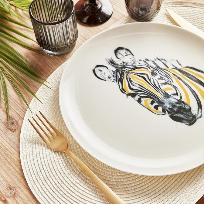 Safari Zebra Porselen Servis Tabağı 6'lı (26 cm)
