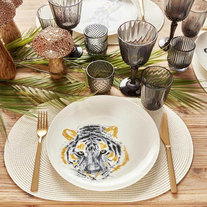 Safari Tiger Porselen Servis Tabağı 6'lı (26 cm)