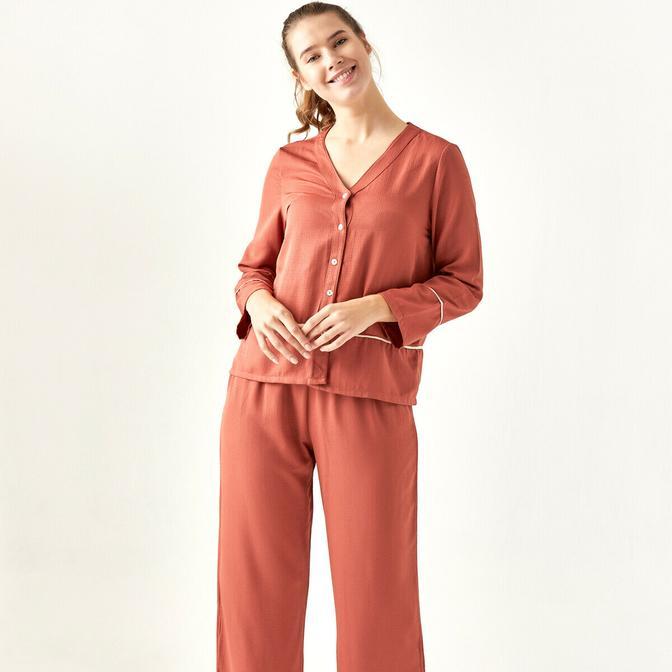 %100 Polyester Morbido Kiremit Pijama Üstü