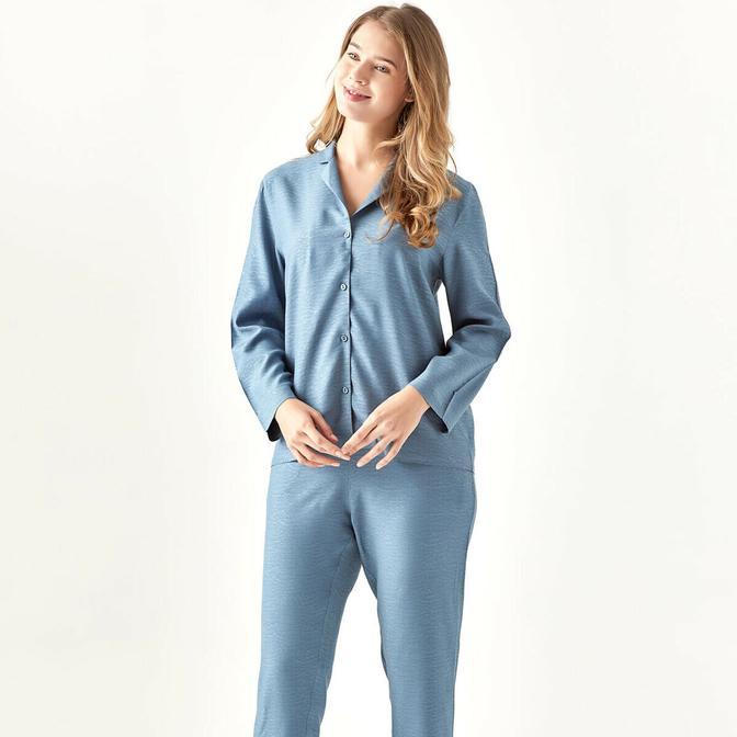 %100 Viskon Dahlia Koyu Mavi Pijama Altı