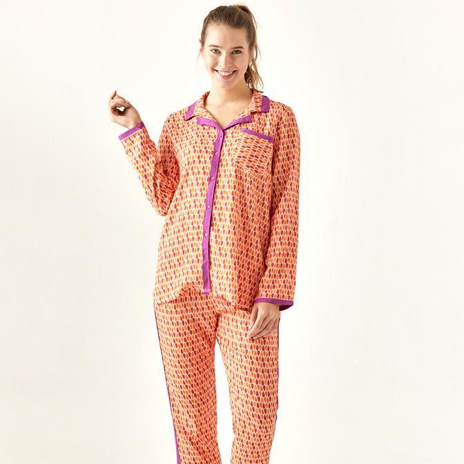 %100 Viskon Cadere Pijama Üstü