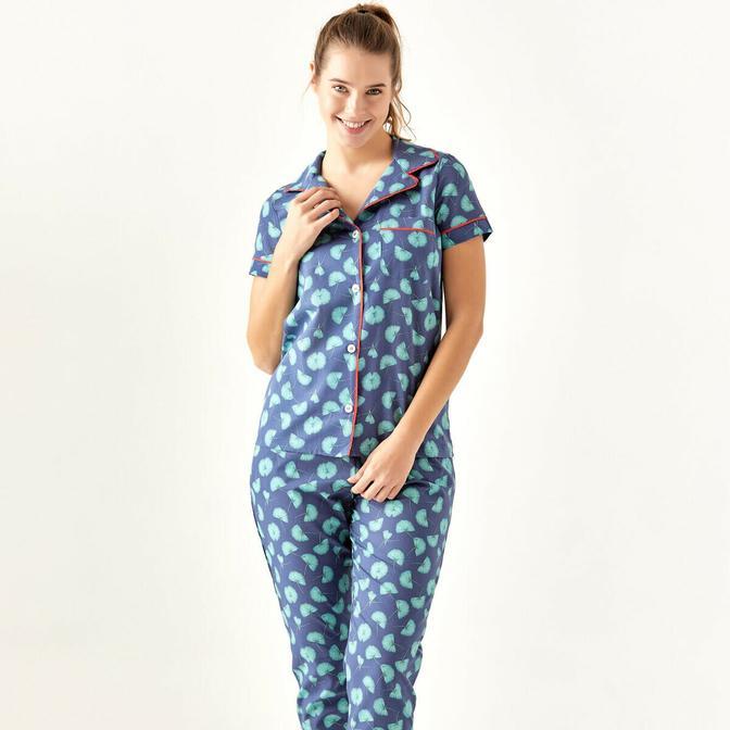 %100 Pamuk Palma Mavi Pijama Üstü