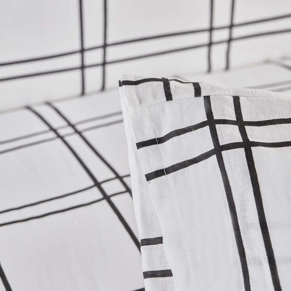%100 Pamuk Ranforce Grid Çift Kişilik Nevresim Seti Siyah (200x220 cm)