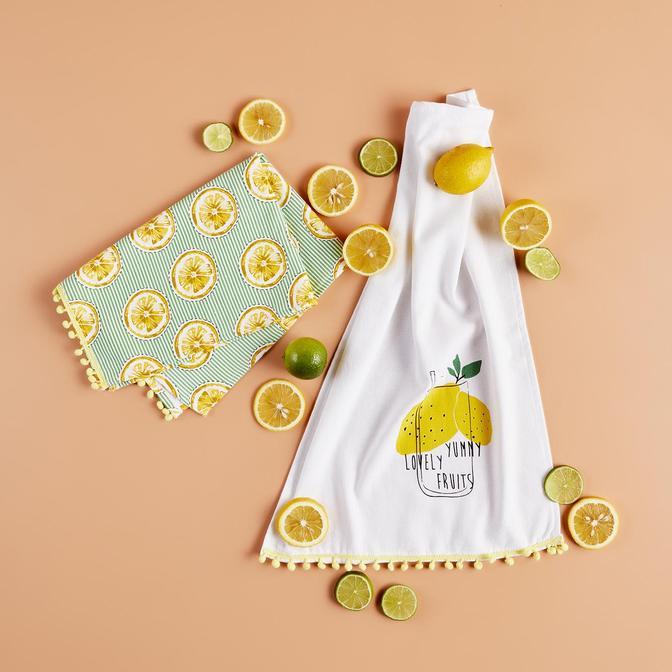 %100 Pamuk Lemon 2li Mutfak Havlusu