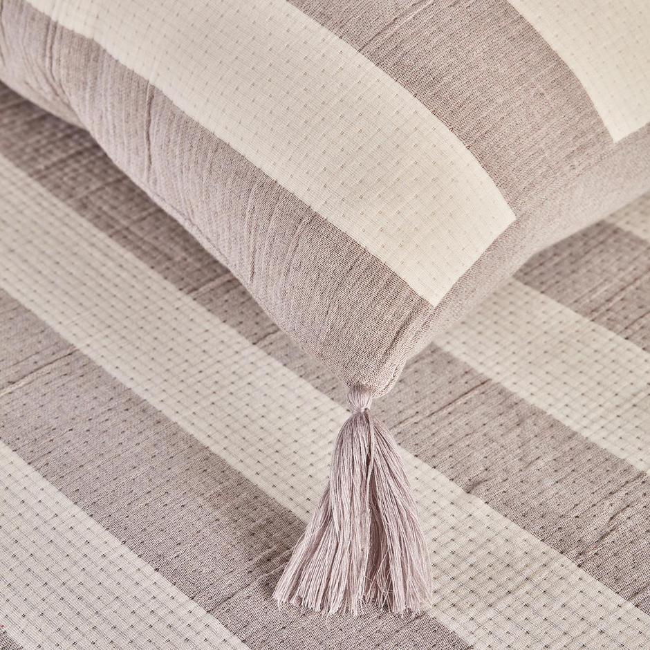 %100 Pamuk 3 Katlı Müslin Sofia Çift Kişilik Yatak Örtüsü Seti Bej (230x240 cm)