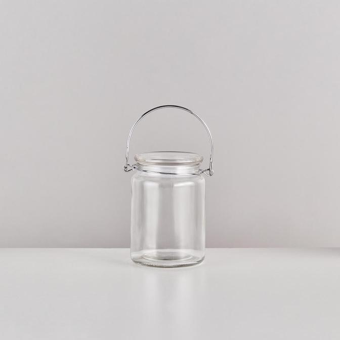 Base Kapaklı Cam Kavanoz Silver (500 ml)