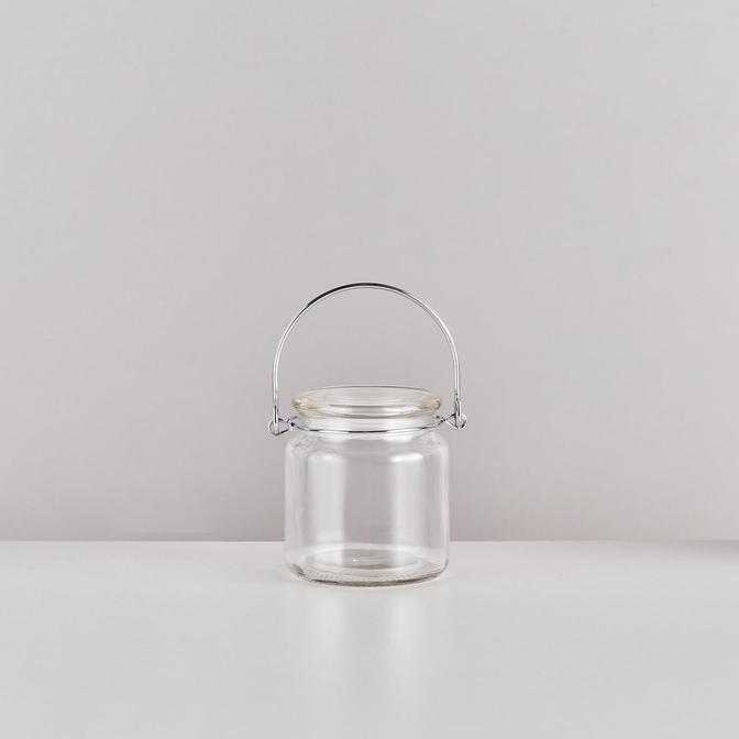 Base Kapaklı Cam Kavanoz Silver (350 ml)