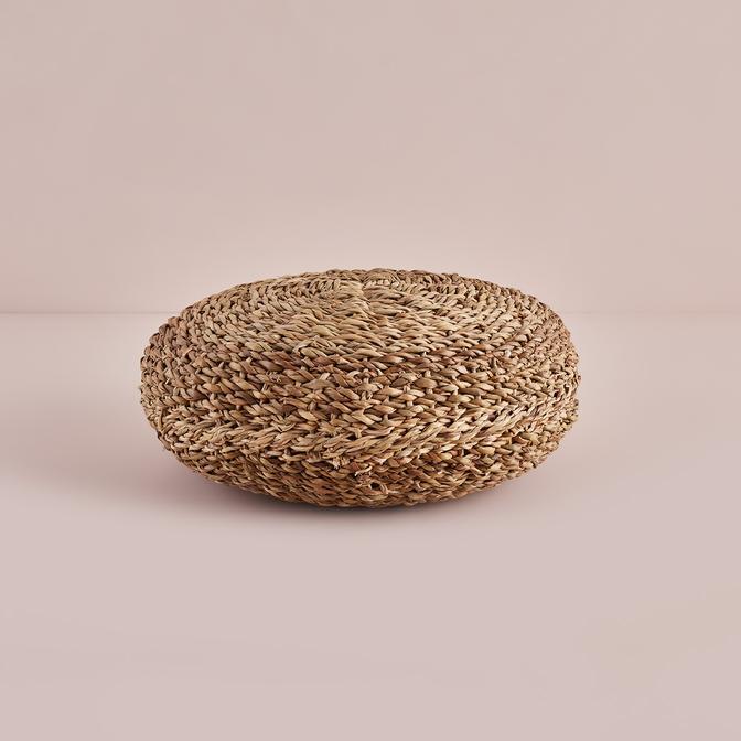 Bamby Küçük Hasır Puf Kahverengi (40 cm)