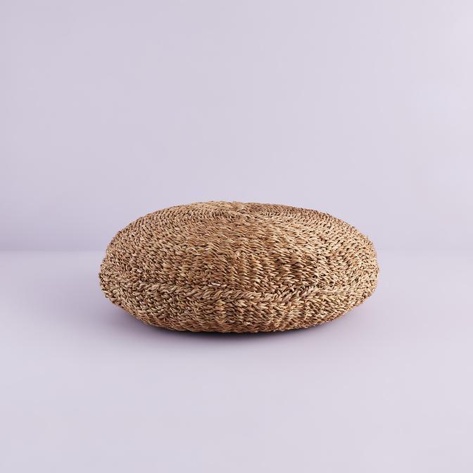 Bamby Büyük Hasır Puf Kahverengi (60 cm)