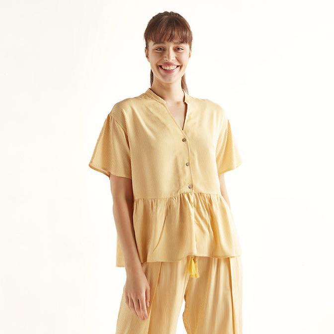 %100 Viskon Eve Sarı Bluz