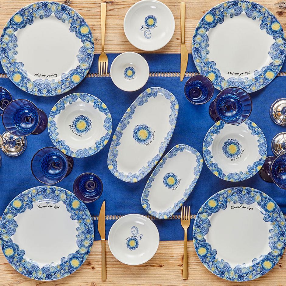 Van Gogh Stoneware Servis Tabağı Mavi (26 cm)