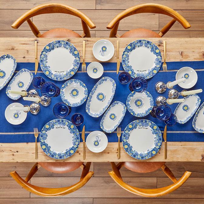 Van Gogh 13 Parça 4 Kişilik Stoneware Kahvaltı Takımı Mavi