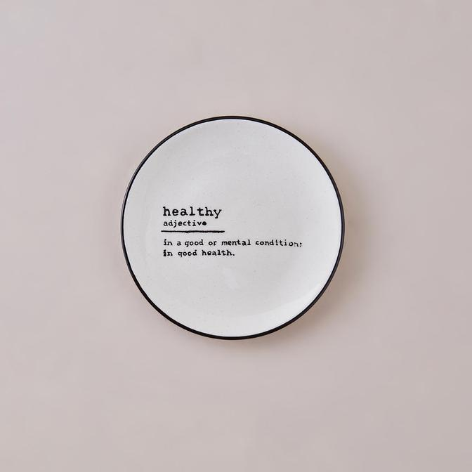 Healthy Word Tatlı Tabağı Siyah (16 cm)