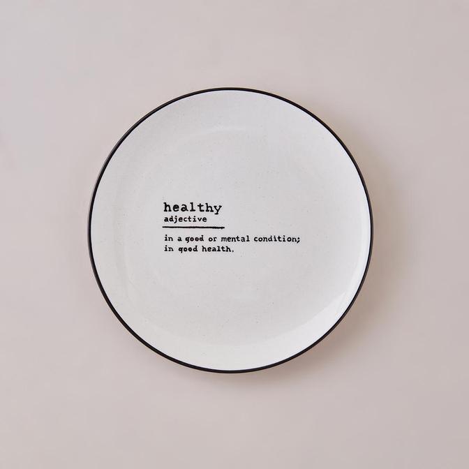 Healthy Word Pasta Tabağı Siyah (21 cm)