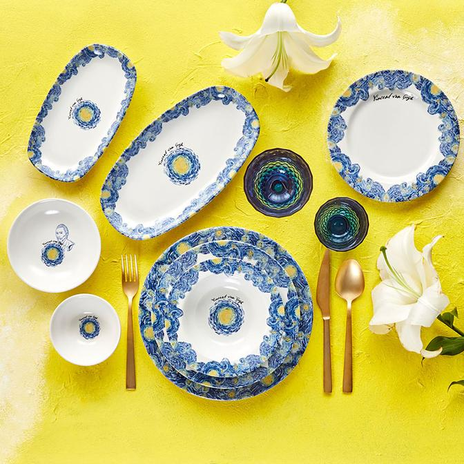 Van Gogh 24 Parça 6 Kişilik Stoneware Yemek Takımı Mavi