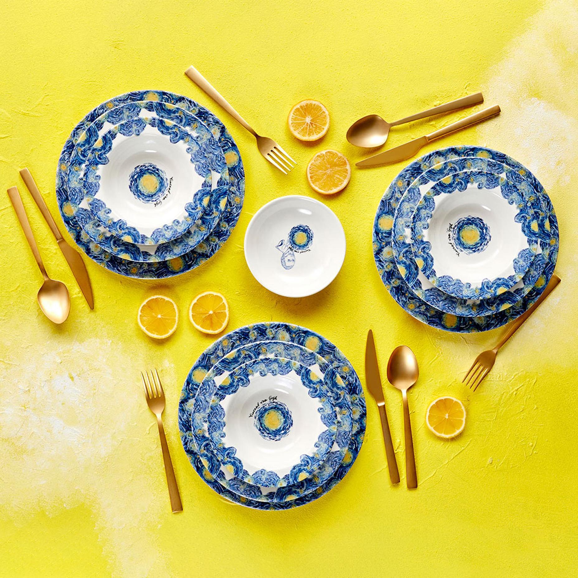 Van Gogh 12 Parça 4 Kişilik Yemek Takımı Stoneware Mavi