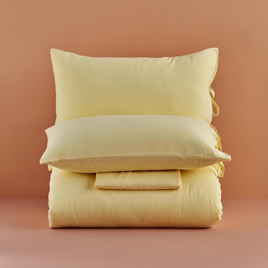 %100 Pamuk Macahel Çift Kişilik Nevresim Takımı Açık Sarı (200x220 cm)