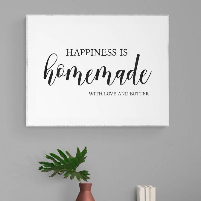 Happiness Is Homemade Beyaz Çerçeveli Tablo (21x30 cm)