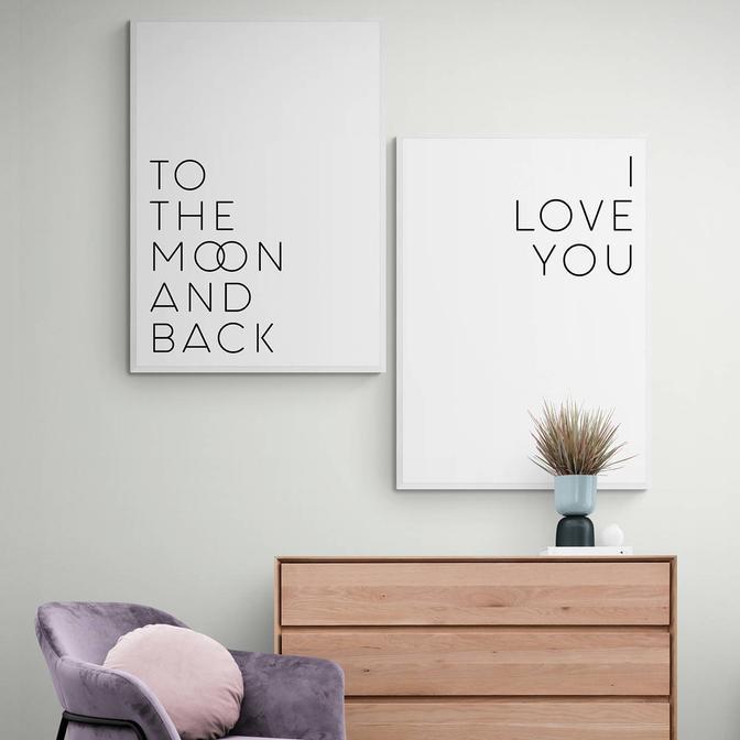 I Love You Moon The Back 2'li Çerçeveli Tablo Seti Beyaz (21x30 cm)