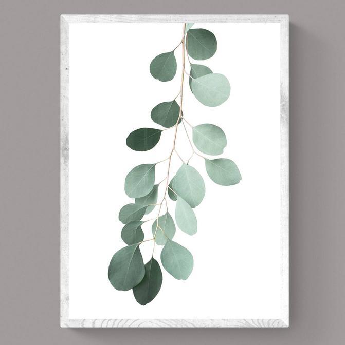 Green Flower Çerçeveli Tablo Beyaz (21x30 cm)