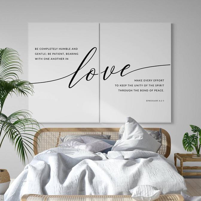 Love Font 2'li Çerçeveli Tablo Seti Beyaz (21x30 cm)