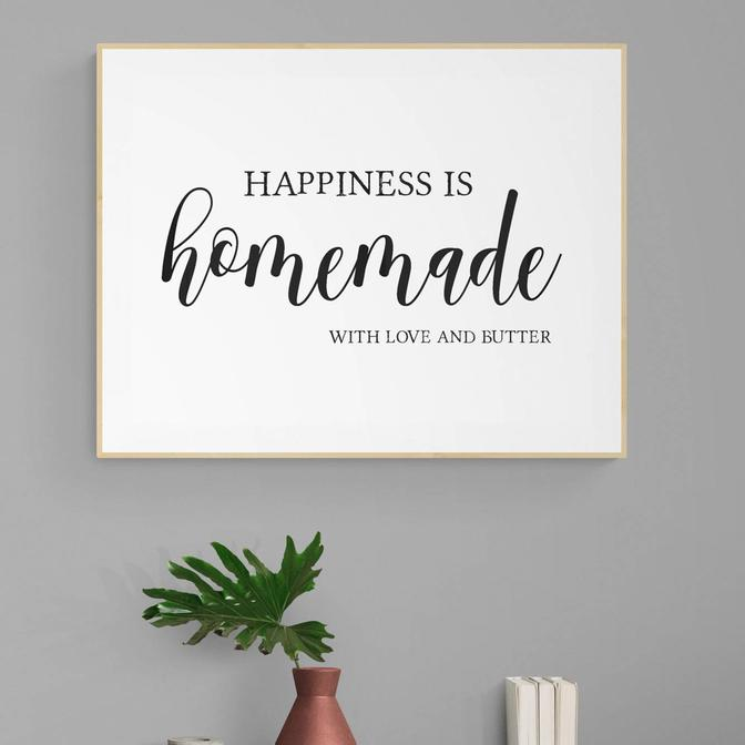 Happiness Is Homemade Naturel Çerçeveli Tablo (21x30 cm)