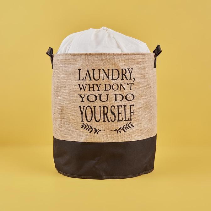 Laundry Why Dont You Do Yourself Su Geçirmez Tabanlı Jüt Çamaşır Sepeti Naturel (36x40 cm)