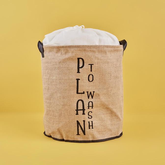 Plan To Wash Su Geçirmez Tabanlı Jüt Çamaşır Sepeti Naturel (36x40 cm)