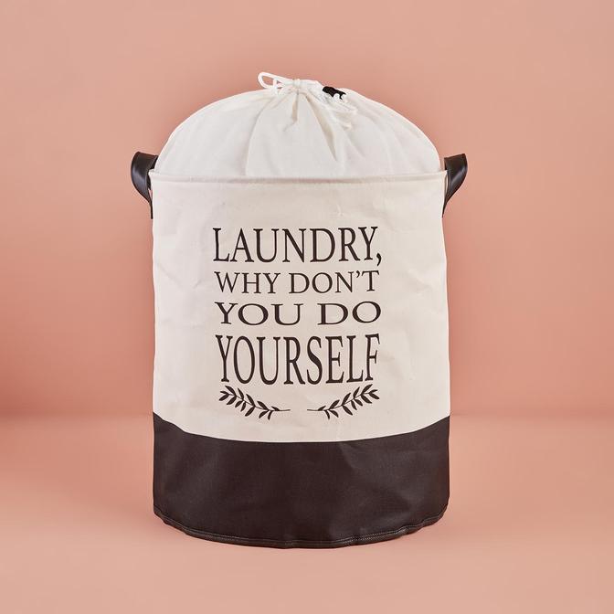 Laundry Why Dont You Do Yourself Su Geçirmez Tabanlı Çamaşır Sepeti Beyaz (36x40 cm)