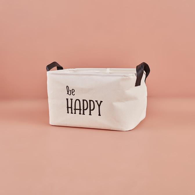 Be Happy  Dikdörtgen Sepet Beyaz (30x21x18 cm)