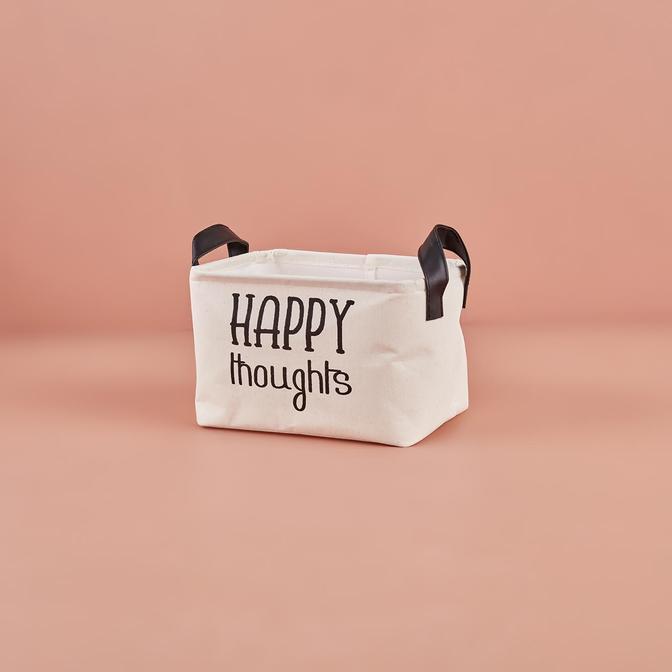 Happy Thoughts Dikdörtgen Sepet Beyaz (24x17x14 cm)