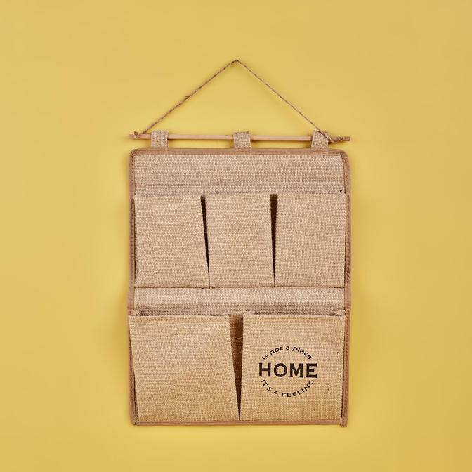 Home 2 Katlı Duvar Tipi Jüt Düzenleyici Naturel (34x45 cm)