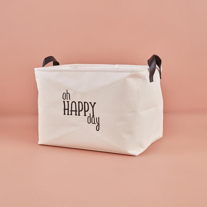Oh Happy Day Dikdörtgen Sepet Beyaz (37x27x25 cm)