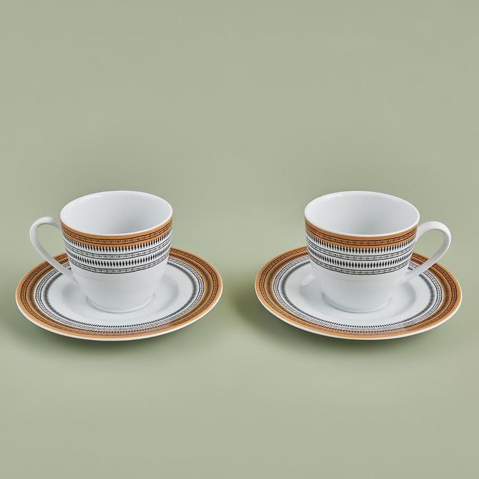 Odine Porselen Çay Fincan Seti Sarı (2'li)