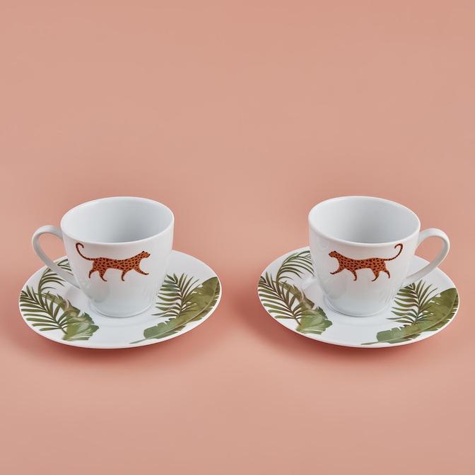 Wild Porselen Çay Fincan Seti Yeşil (2'li)
