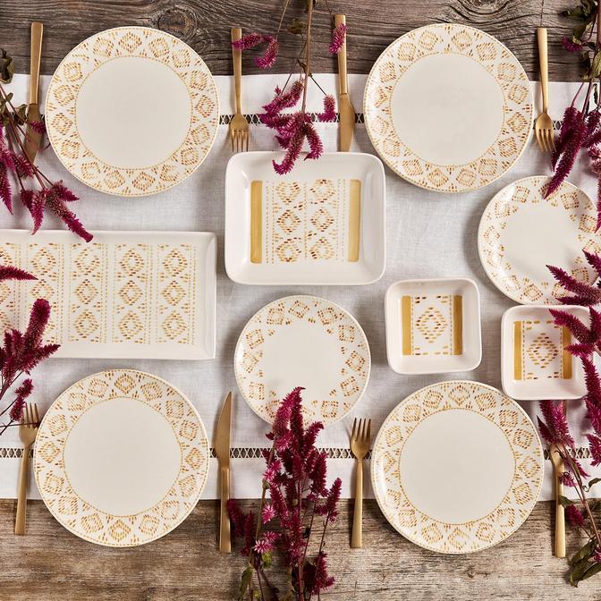 Native Seramik 10 Parça 4 Kişilik Kahvaltı Takımı Sarı